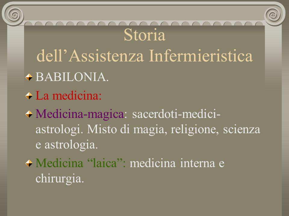 Storia dellAssistenza Infermieristica BABILONIA. La medicina: Medicina-magica: sacerdoti-medici- astrologi. Misto di magia, religione, scienza e astro