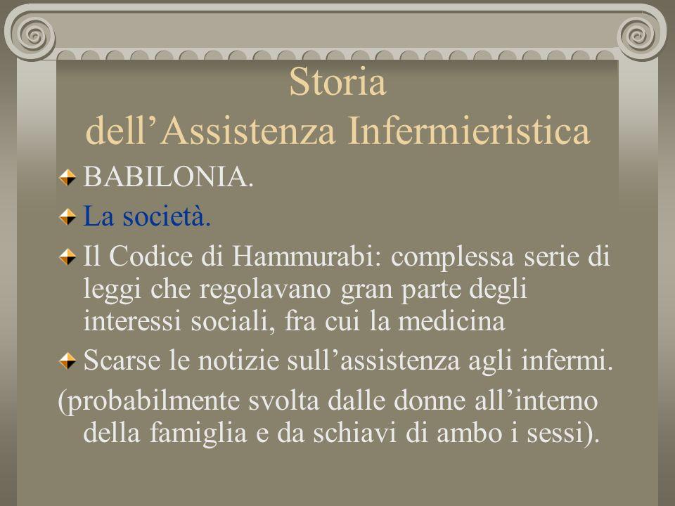 Storia dellAssistenza Infermieristica BABILONIA. La società. Il Codice di Hammurabi: complessa serie di leggi che regolavano gran parte degli interess