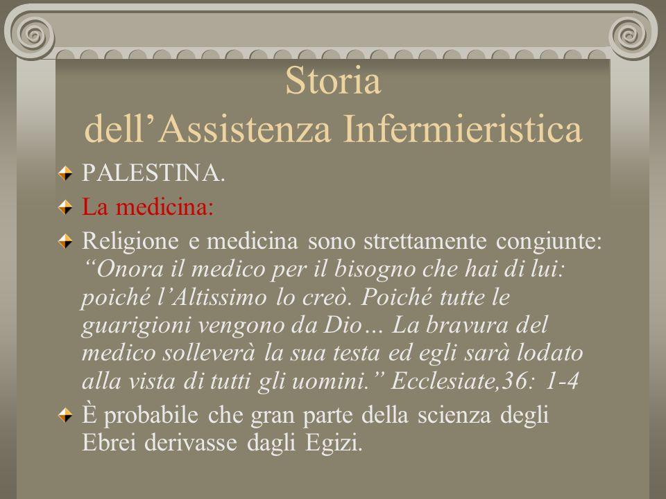 Storia dellAssistenza Infermieristica PALESTINA. La medicina: Religione e medicina sono strettamente congiunte: Onora il medico per il bisogno che hai