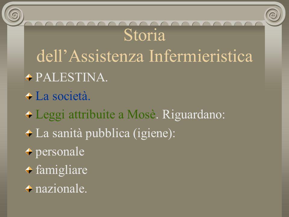 Storia dellAssistenza Infermieristica PALESTINA. La società. Leggi attribuite a Mosè. Riguardano: La sanità pubblica (igiene): personale famigliare na