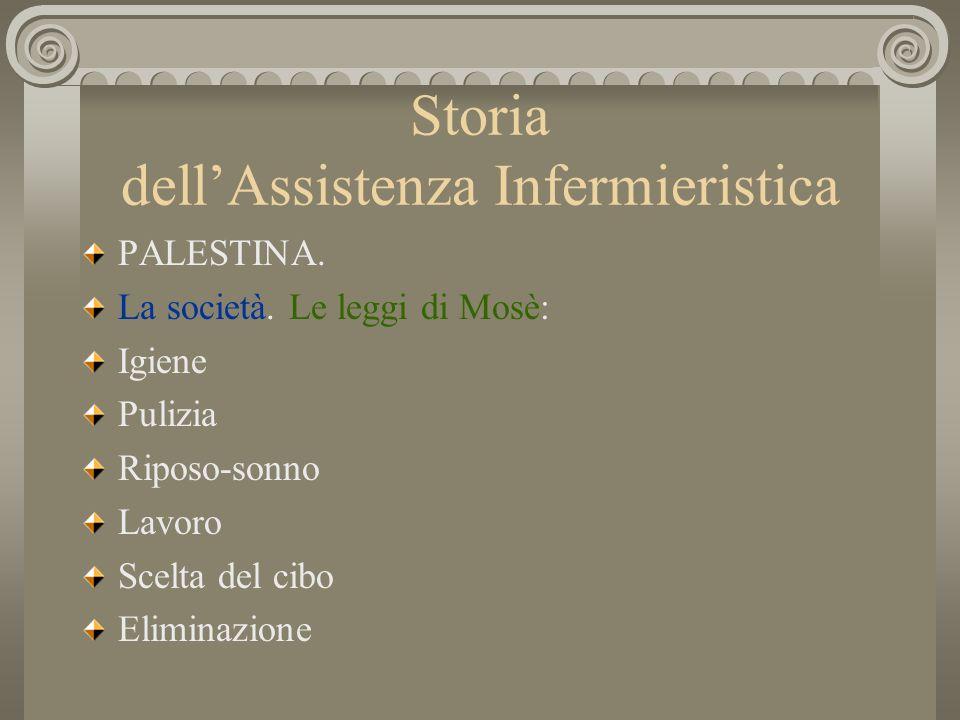 Storia dellAssistenza Infermieristica PALESTINA. La società. Le leggi di Mosè: Igiene Pulizia Riposo-sonno Lavoro Scelta del cibo Eliminazione