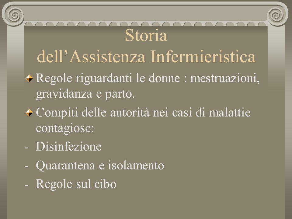 Storia dellAssistenza Infermieristica Regole riguardanti le donne : mestruazioni, gravidanza e parto. Compiti delle autorità nei casi di malattie cont
