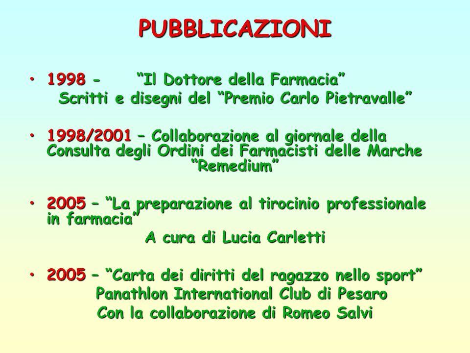 INIZIATIVE Concorso (1998 e 2000)Concorso (1998 e 2000) Premio Carlo Pietravalle: Il Dottore della Farmacia Borsa di Studio Patrizia Salambrini (2000)