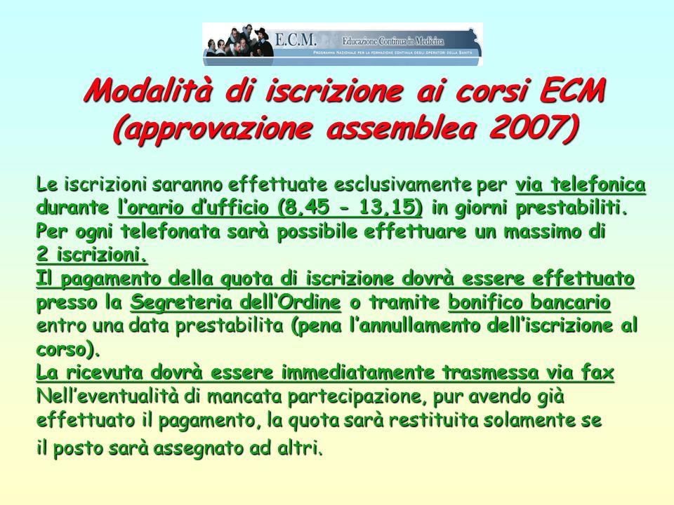 I corsi dellOrdine primo semestre 2008 Confermando quanto fatto dal 2002 in poi (anno zero ECM), lOrdine di Pesaro e Urbino ha già predisposto un prog