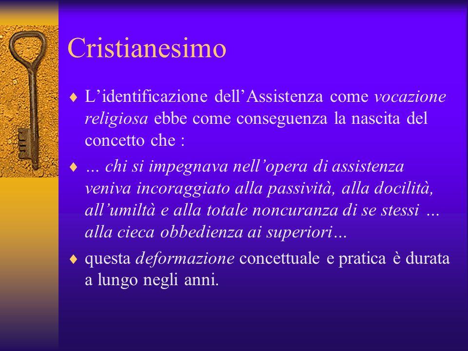Cristianesimo Lidentificazione dellAssistenza come vocazione religiosa ebbe come conseguenza la nascita del concetto che : … chi si impegnava nelloper
