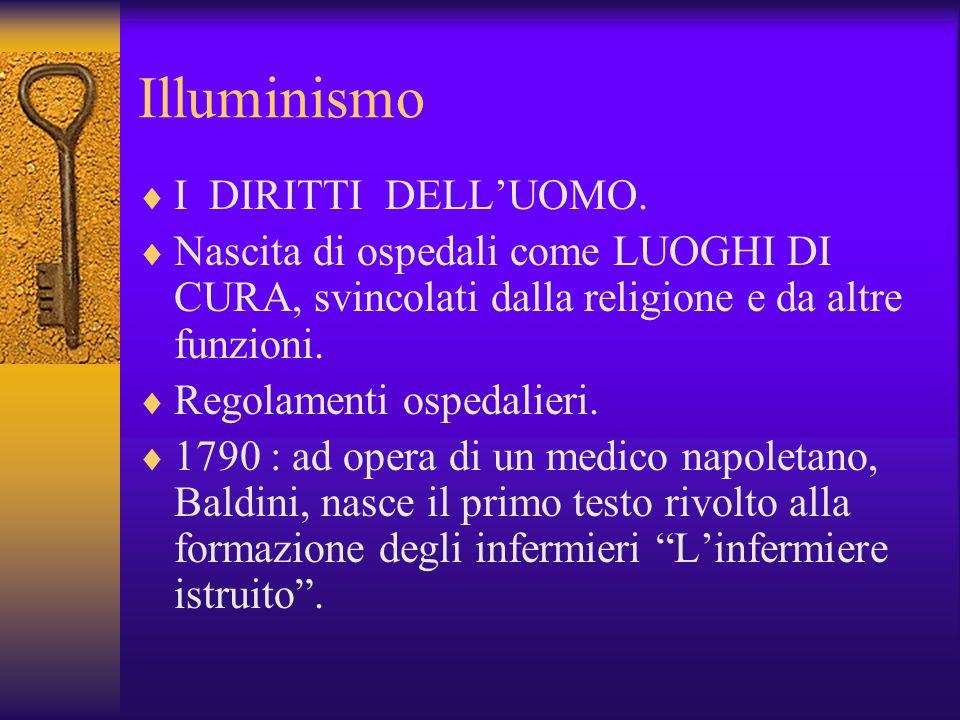 Illuminismo I DIRITTI DELLUOMO. Nascita di ospedali come LUOGHI DI CURA, svincolati dalla religione e da altre funzioni. Regolamenti ospedalieri. 1790