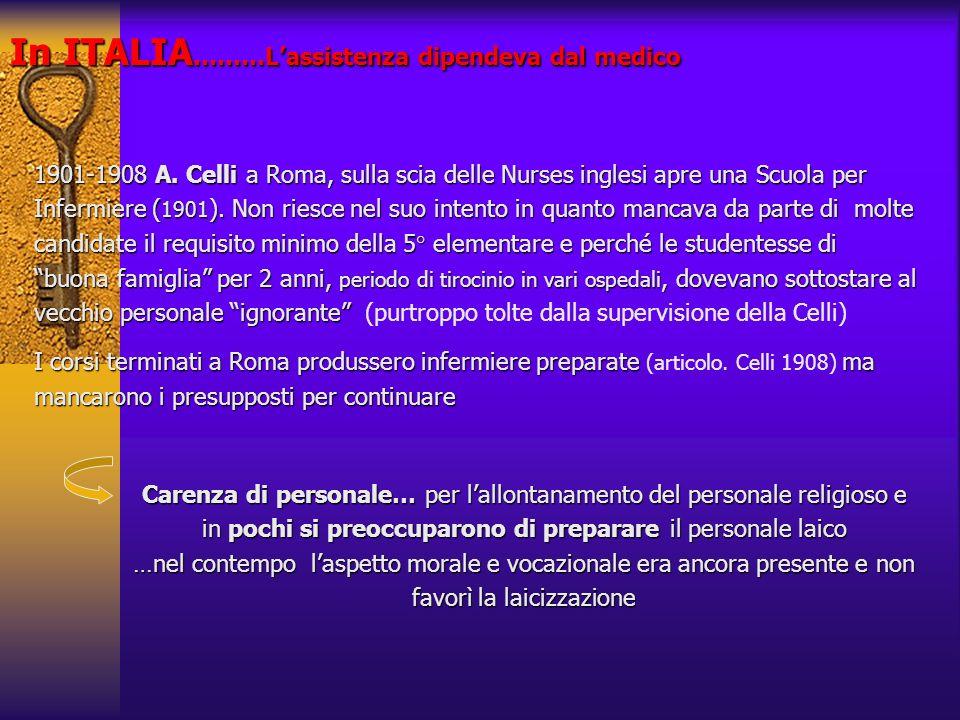 In ITALIA ………Lassistenza dipendeva dal medico 1901-1908 A. Celli a Roma, sulla scia delle Nurses inglesi apre una Scuola per Infermiere ( 1901 ). Non
