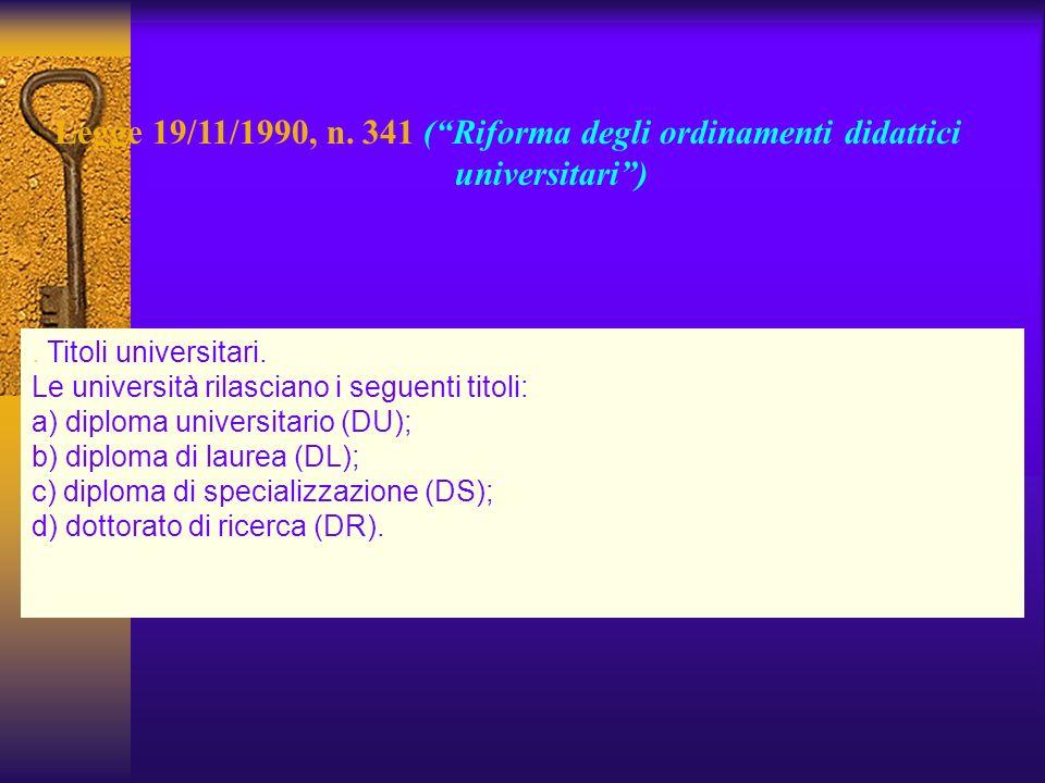 Legge 19/11/1990, n. 341 (Riforma degli ordinamenti didattici universitari). Titoli universitari. Le università rilasciano i seguenti titoli: a) diplo