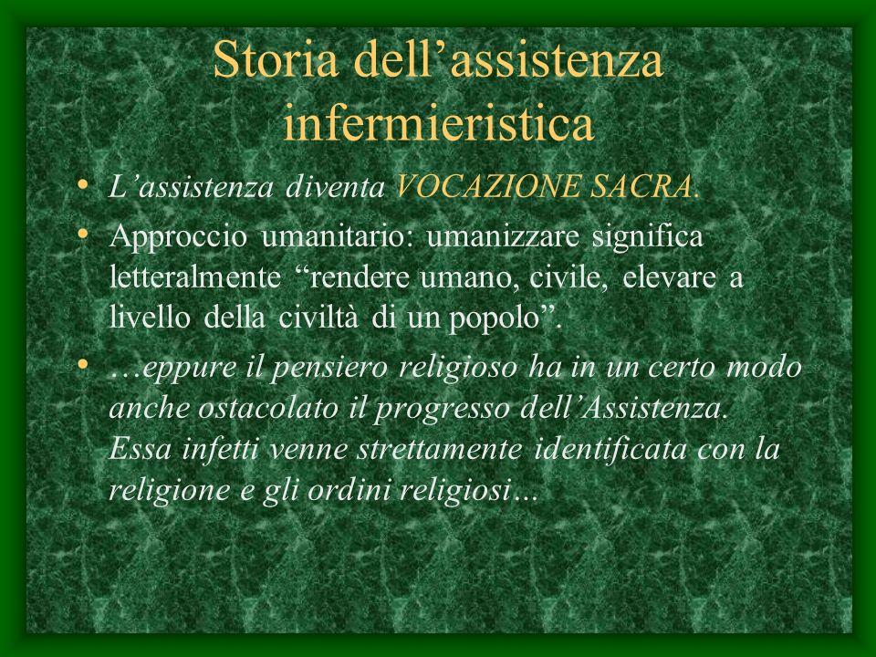 Storia dellassistenza infermieristica Lassistenza diventa VOCAZIONE SACRA.