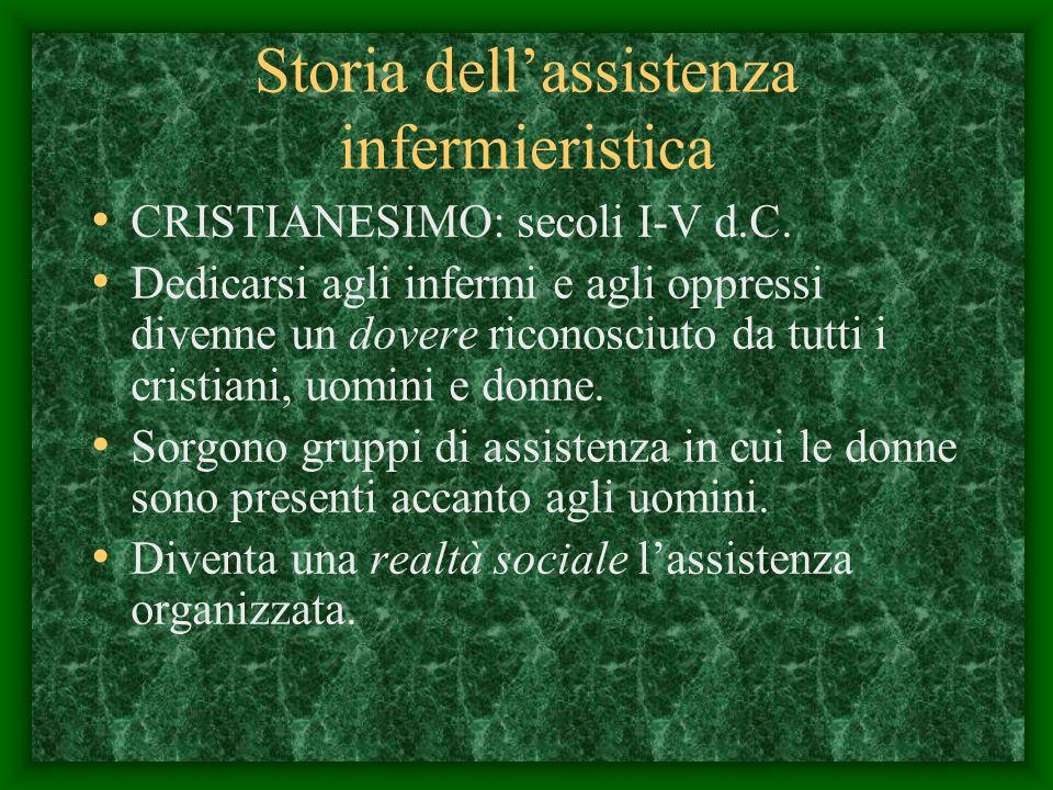 Storia dellassistenza infermieristica CRISTIANESIMO: secoli I-V d.C.