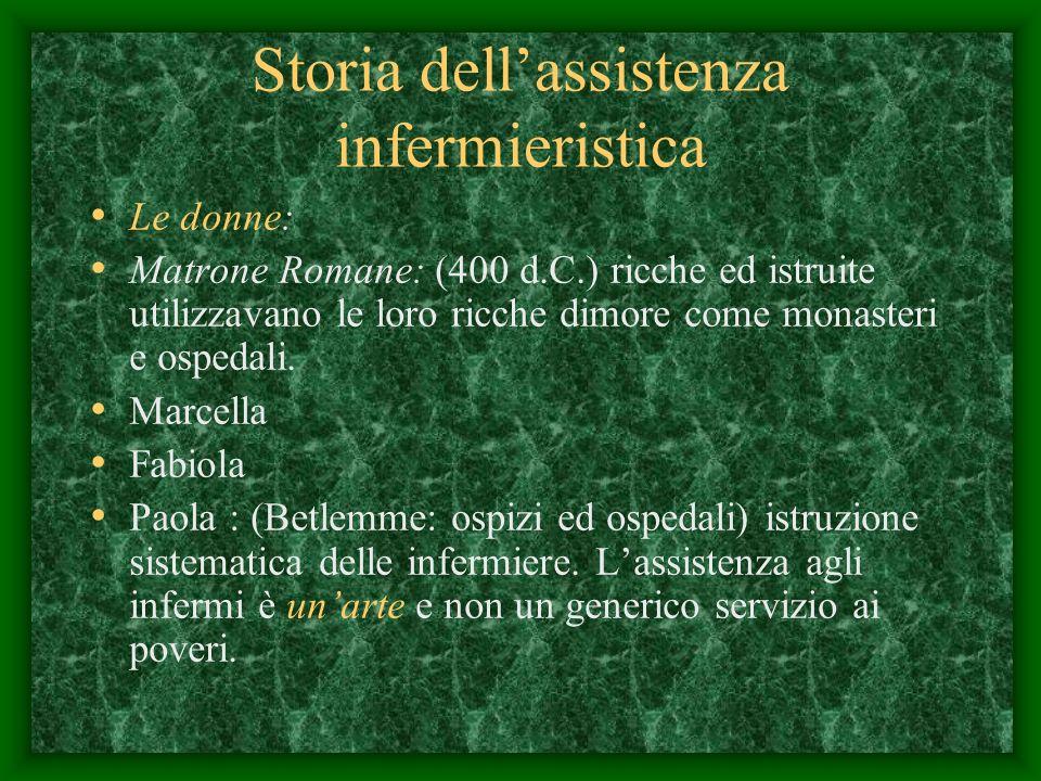 Storia dellassistenza infermieristica Le donne: Matrone Romane: (400 d.C.) ricche ed istruite utilizzavano le loro ricche dimore come monasteri e ospedali.