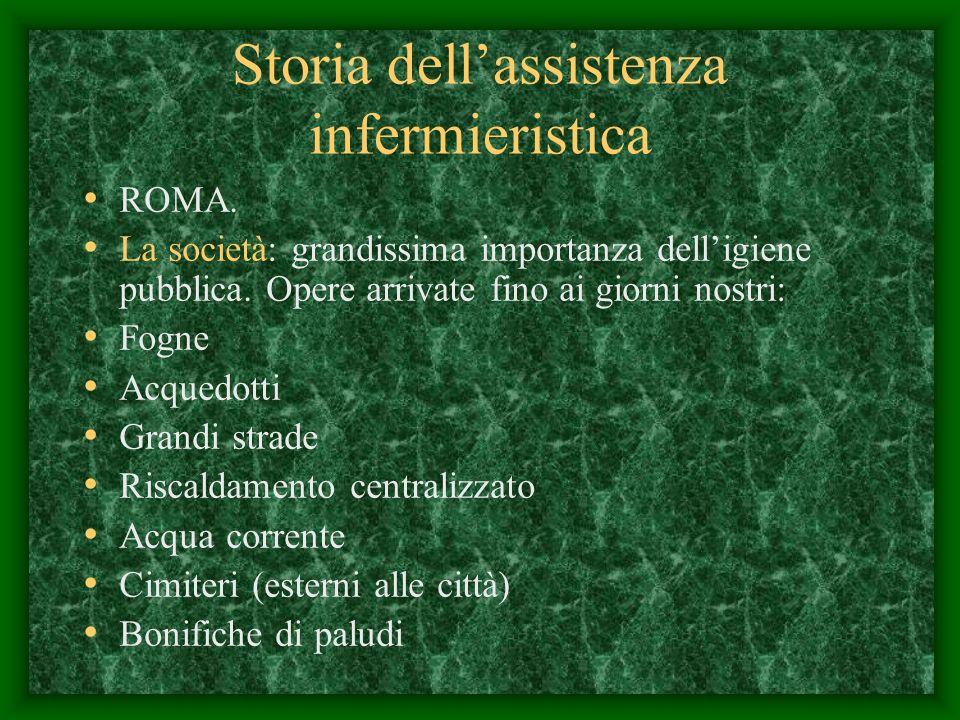 Storia dellassistenza infermieristica ROMA.La società: grandissima importanza delligiene pubblica.