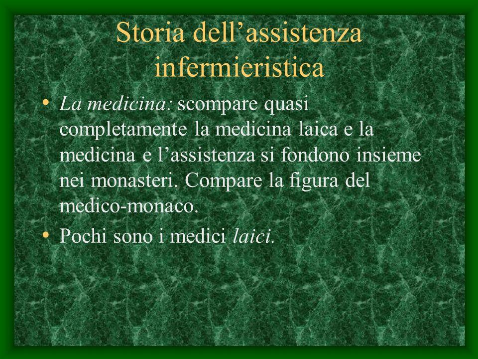 Storia dellassistenza infermieristica La medicina: scompare quasi completamente la medicina laica e la medicina e lassistenza si fondono insieme nei monasteri.