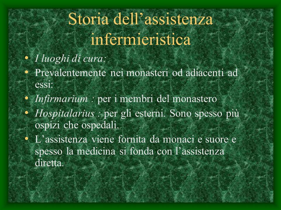 Storia dellassistenza infermieristica I luoghi di cura: Prevalentemente nei monasteri od adiacenti ad essi: Infirmarium : per i membri del monastero Hospitalarius : per gli esterni.