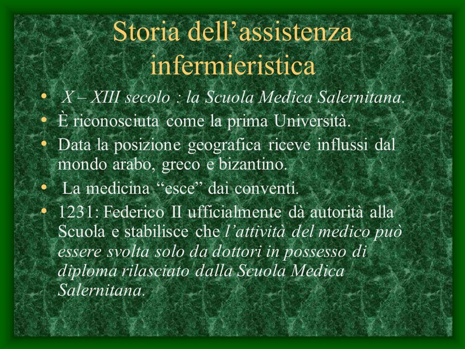 Storia dellassistenza infermieristica X – XIII secolo : la Scuola Medica Salernitana.