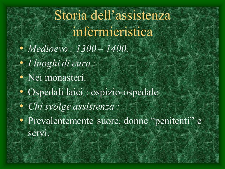 Storia dellassistenza infermieristica Medioevo : 1300 – 1400.