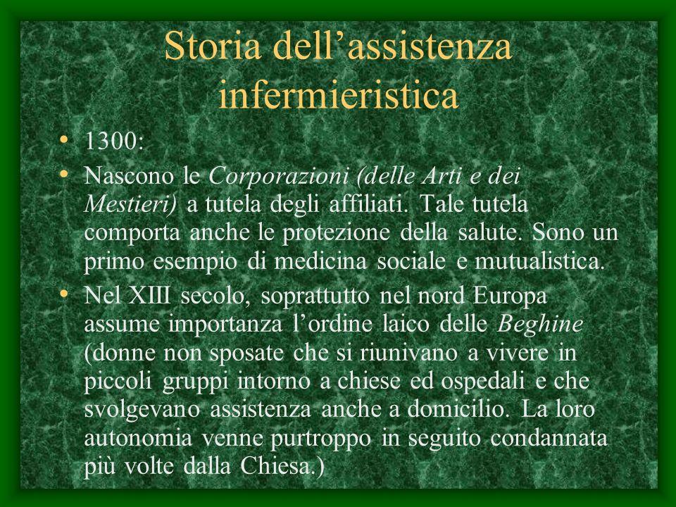 Storia dellassistenza infermieristica 1300: Nascono le Corporazioni (delle Arti e dei Mestieri) a tutela degli affiliati.