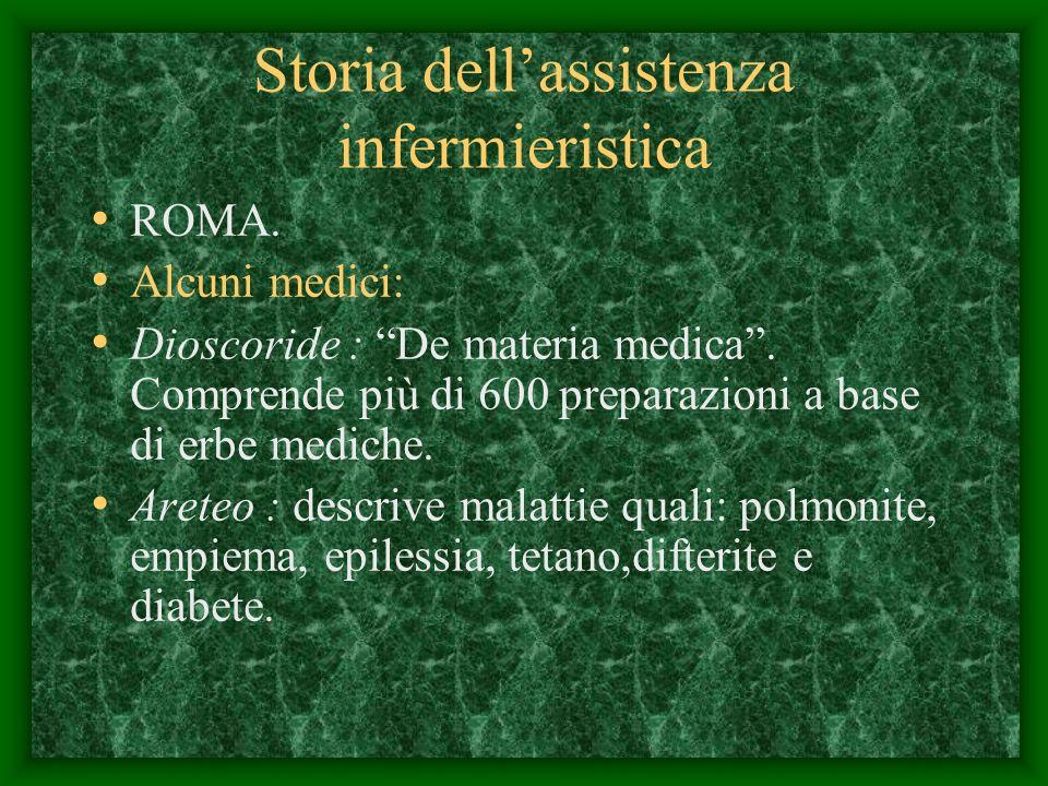 Storia dellassistenza infermieristica ROMA.Alcuni medici: Dioscoride : De materia medica.