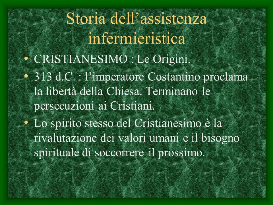 Storia dellassistenza infermieristica CRISTIANESIMO : Le Origini.