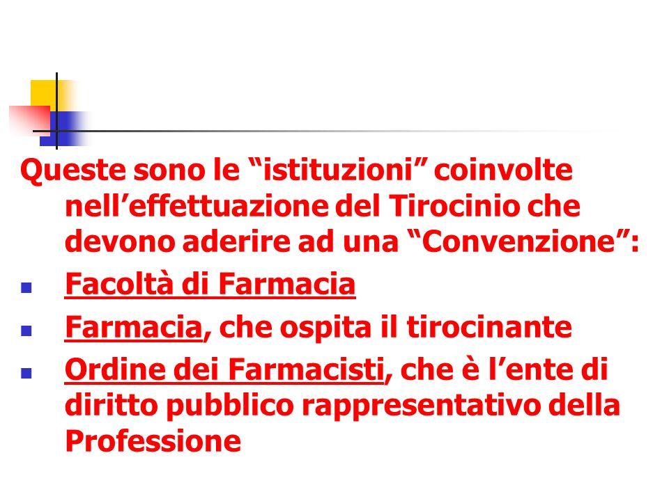 Queste sono le istituzioni coinvolte nelleffettuazione del Tirocinio che devono aderire ad una Convenzione: Facoltà di Farmacia Farmacia, che ospita i