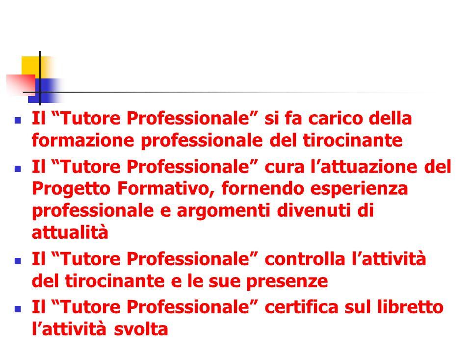 Il Tutore Professionale si fa carico della formazione professionale del tirocinante Il Tutore Professionale cura lattuazione del Progetto Formativo, f