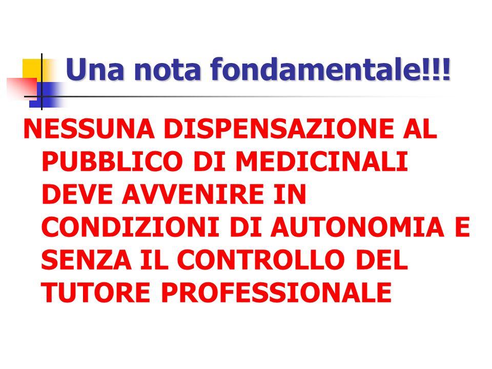 Una nota fondamentale!!! NESSUNA DISPENSAZIONE AL PUBBLICO DI MEDICINALI DEVE AVVENIRE IN CONDIZIONI DI AUTONOMIA E SENZA IL CONTROLLO DEL TUTORE PROF