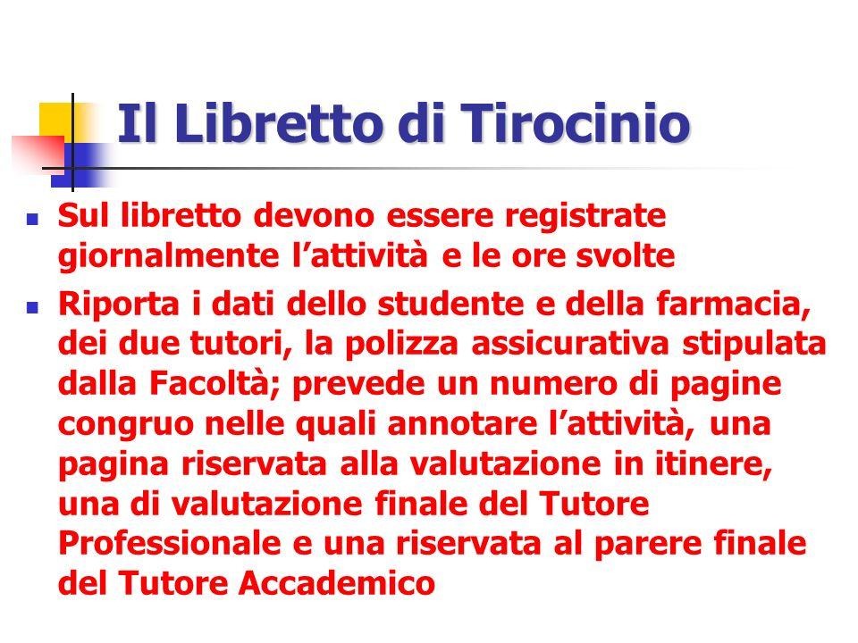 Il Libretto di Tirocinio Sul libretto devono essere registrate giornalmente lattività e le ore svolte Riporta i dati dello studente e della farmacia,