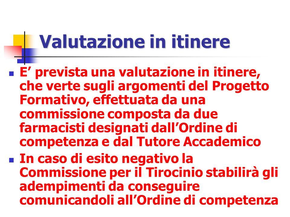 Valutazione in itinere E prevista una valutazione in itinere, che verte sugli argomenti del Progetto Formativo, effettuata da una commissione composta