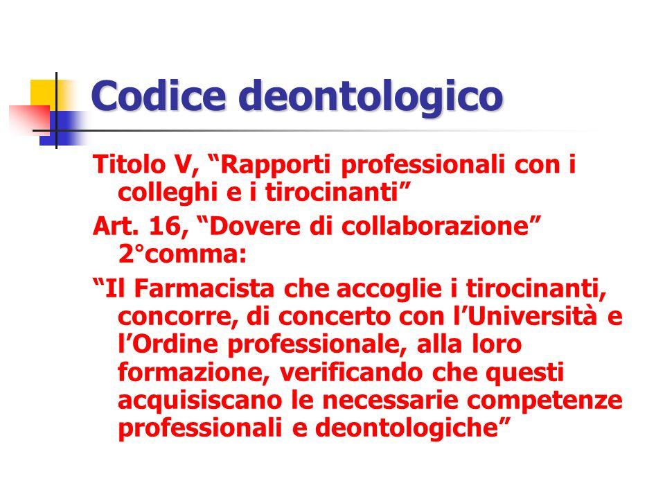 Codice deontologico Titolo V, Rapporti professionali con i colleghi e i tirocinanti Art. 16, Dovere di collaborazione 2°comma: Il Farmacista che accog