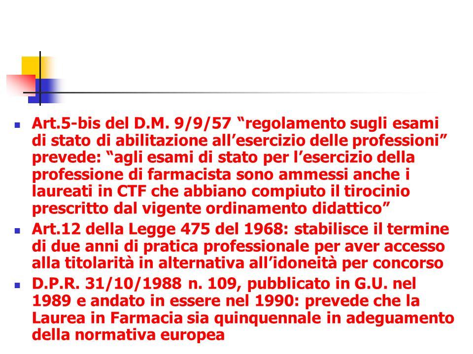 Art.5-bis del D.M. 9/9/57 regolamento sugli esami di stato di abilitazione allesercizio delle professioni prevede: agli esami di stato per lesercizio