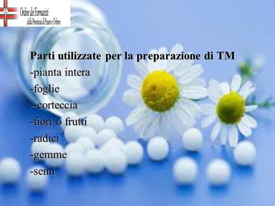 Parti utilizzate per la preparazione di TM -pianta intera -foglie--corteccia -fiori o frutti -radici-gemme-semi