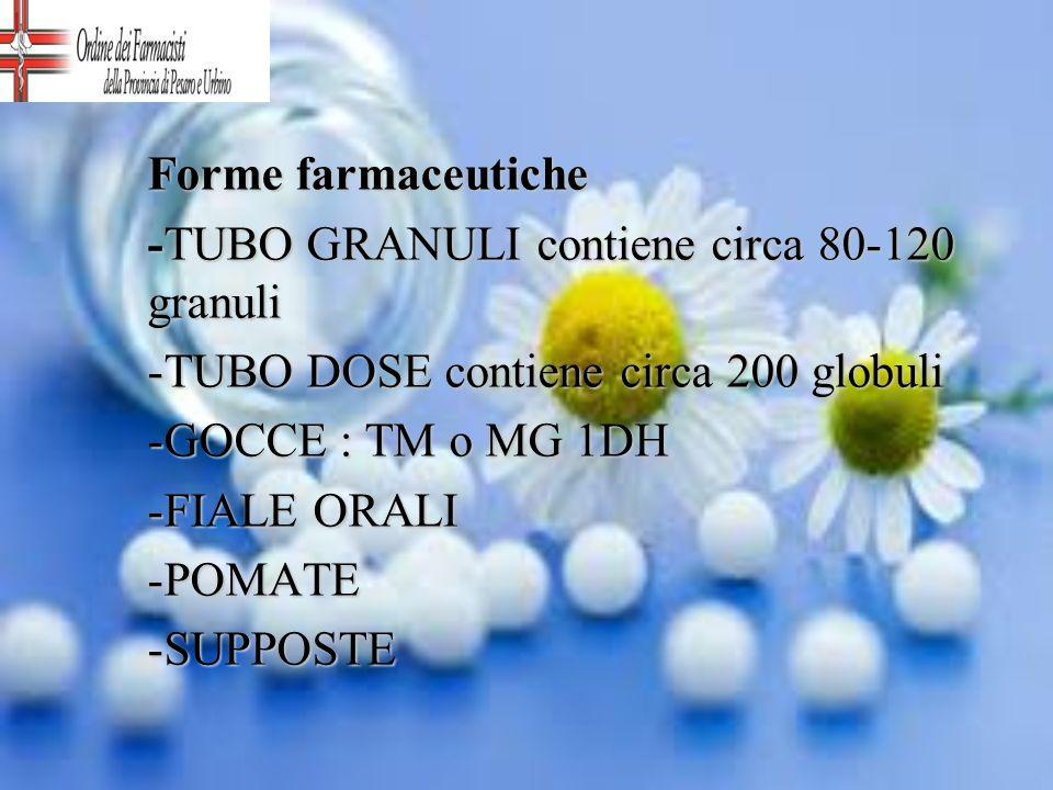 Forme farmaceutiche -TUBO GRANULI contiene circa 80-120 granuli -TUBO DOSE contiene circa 200 globuli -GOCCE : TM o MG 1DH -FIALE ORALI -POMATE -SUPPO