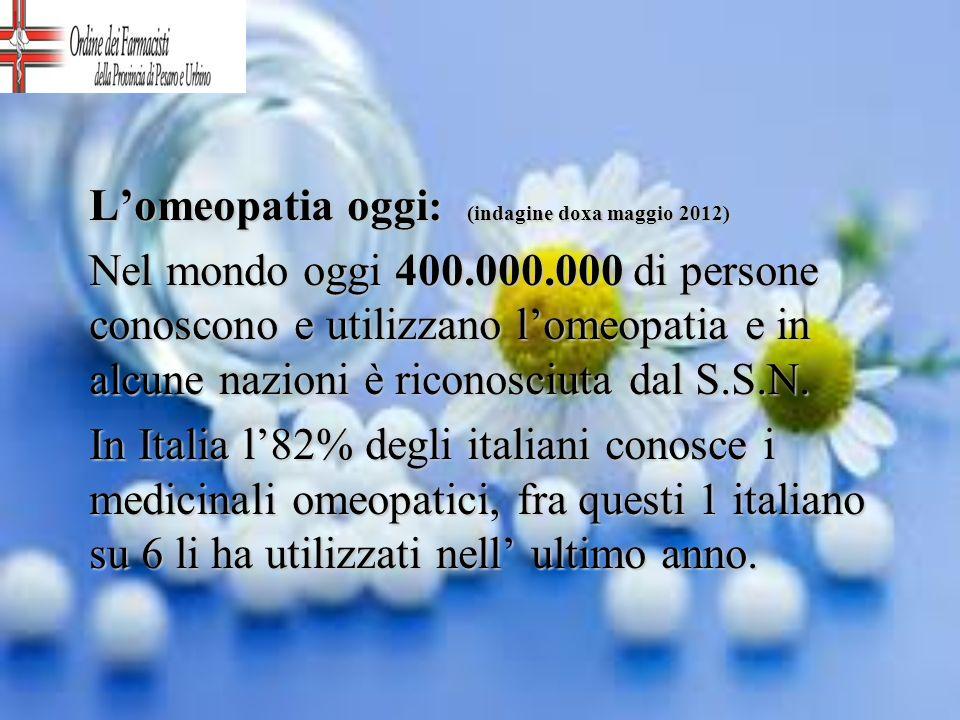 Lomeopatia oggi : (indagine doxa maggio 2012) Nel mondo oggi 400.000.000 di persone conoscono e utilizzano lomeopatia e in alcune nazioni è riconosciu