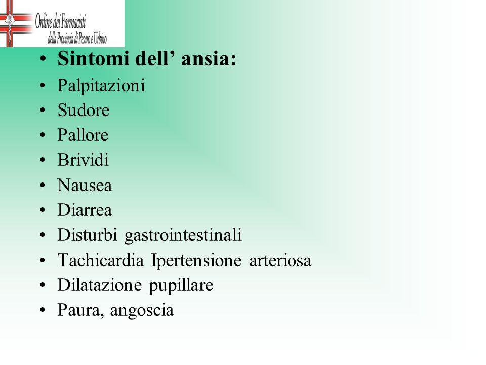 Sintomi dell ansia: Palpitazioni Sudore Pallore Brividi Nausea Diarrea Disturbi gastrointestinali Tachicardia Ipertensione arteriosa Dilatazione pupil