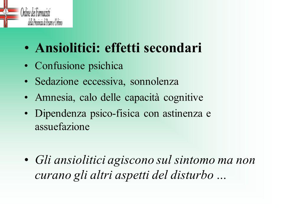 Ansiolitici: effetti secondari Confusione psichica Sedazione eccessiva, sonnolenza Amnesia, calo delle capacità cognitive Dipendenza psico-fisica con