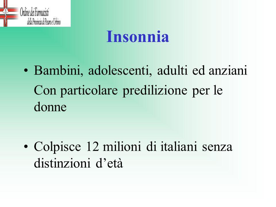 Insonnia Bambini, adolescenti, adulti ed anziani Con particolare predilizione per le donne Colpisce 12 milioni di italiani senza distinzioni detà
