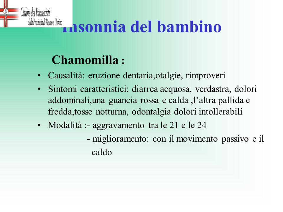 Insonnia del bambino Chamomilla : Causalità: eruzione dentaria,otalgie, rimproveri Sintomi caratteristici: diarrea acquosa, verdastra, dolori addomina