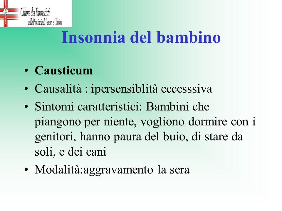 Insonnia del bambino Causticum Causalità : ipersensiblità eccesssiva Sintomi caratteristici: Bambini che piangono per niente, vogliono dormire con i g