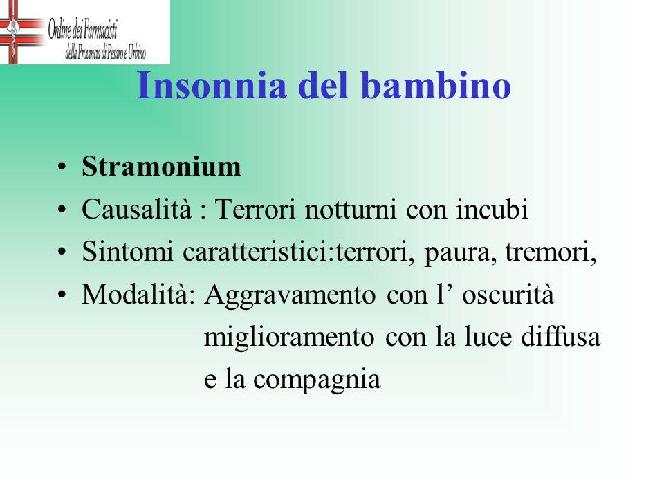 Insonnia del bambino Stramonium Causalità : Terrori notturni con incubi Sintomi caratteristici:terrori, paura, tremori, Modalità: Aggravamento con l o