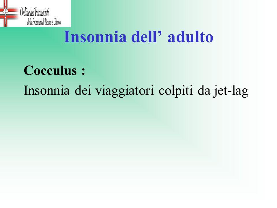 Insonnia dell adulto Cocculus : Insonnia dei viaggiatori colpiti da jet-lag