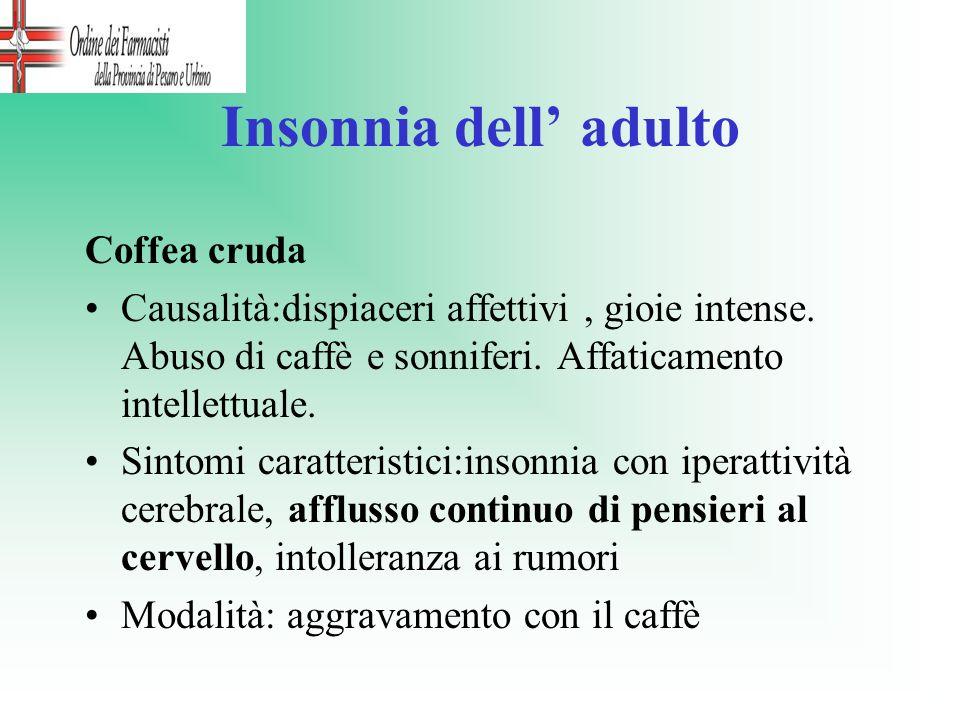 Insonnia dell adulto Coffea cruda Causalità:dispiaceri affettivi, gioie intense. Abuso di caffè e sonniferi. Affaticamento intellettuale. Sintomi cara
