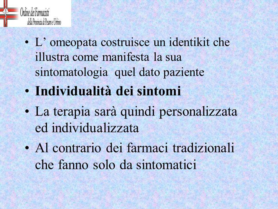 L omeopata costruisce un identikit che illustra come manifesta la sua sintomatologia quel dato paziente Individualità dei sintomi La terapia sarà quin