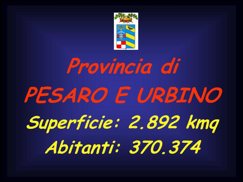 Provincia di PESARO E URBINO Superficie: 2.892 kmq Abitanti: 370.374
