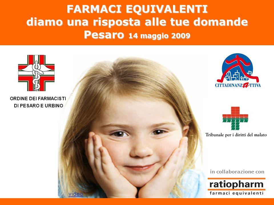 FARMACI EQUIVALENTI diamo una risposta alle tue domande Pesaro 14 maggio 2009 in collaborazione con video ORDINE DEI FARMACISTI DI PESARO E URBINO