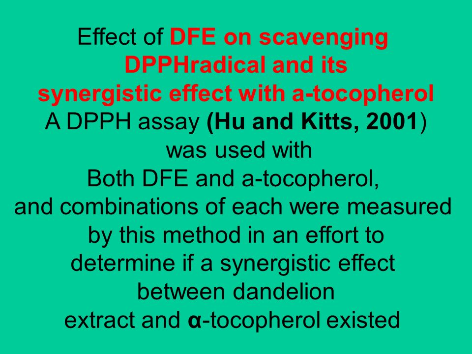 Effect of DFE on scavenging DPPHradical and its synergistic effect with a-tocopherol A DPPH assay (Hu and Kitts, 2001) was used with Both DFE and a-to