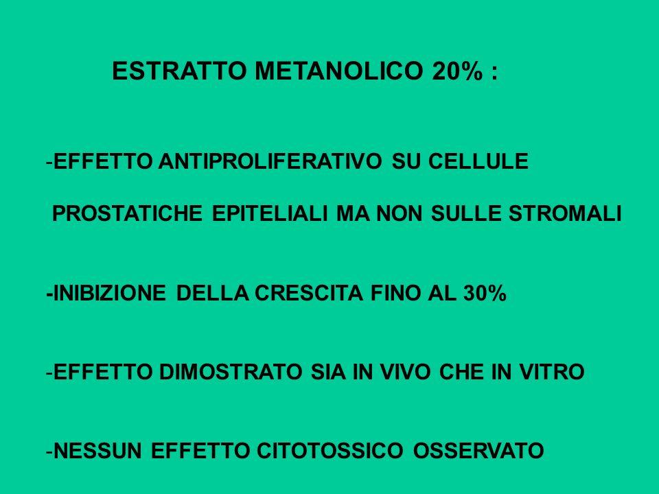 ESTRATTO METANOLICO 20% : -EFFETTO ANTIPROLIFERATIVO SU CELLULE PROSTATICHE EPITELIALI MA NON SULLE STROMALI -INIBIZIONE DELLA CRESCITA FINO AL 30% -E