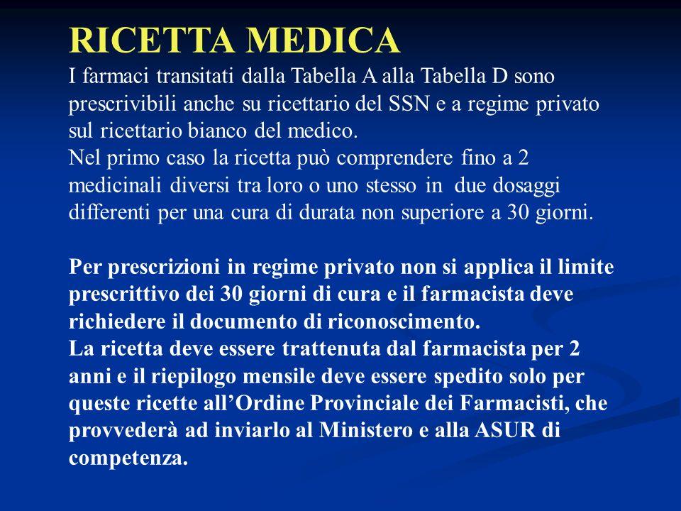 RICETTA MEDICA I farmaci transitati dalla Tabella A alla Tabella D sono prescrivibili anche su ricettario del SSN e a regime privato sul ricettario bianco del medico.