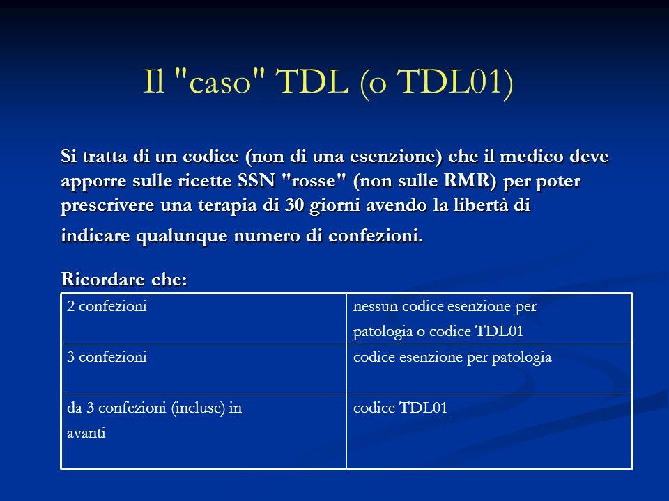 Il caso TDL (o TDL01) Si tratta di un codice (non di una esenzione) che il medico deve apporre sulle ricette SSN rosse (non sulle RMR) per poter prescrivere una terapia di 30 giorni avendo la libertà di indicare qualunque numero di confezioni.