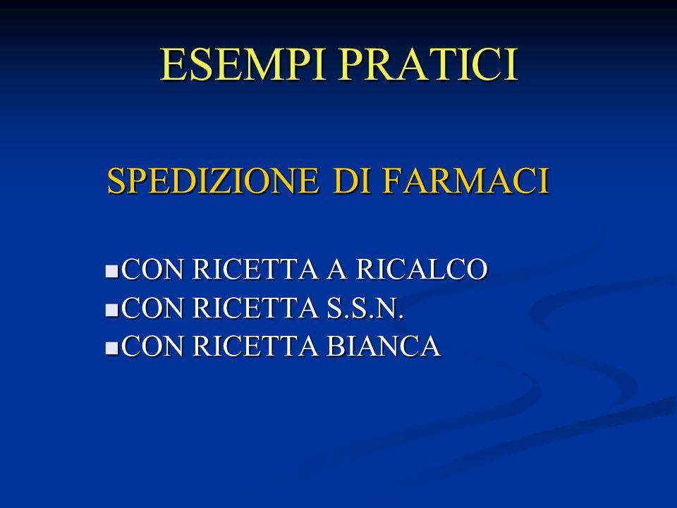 ESEMPI PRATICI SPEDIZIONE DI FARMACI CON RICETTA A RICALCO CON RICETTA A RICALCO CON RICETTA S.S.N.