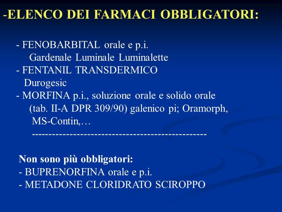 -ELENCO DEI FARMACI OBBLIGATORI: - FENOBARBITAL orale e p.i.